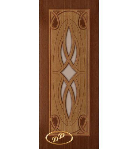 фото: Дверь Аванти-1, шпон дуб тон британия /карелия, стекло матовое бронза без рис.