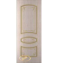 фото: Дверь Авангард, шпон беленый дуб, пазы золото