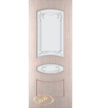 фото: Дверь Авангард, шпон беленый дуб, пазы бежевые, стекло матовое рис.Авангард
