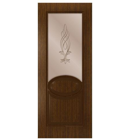 фото: Дверь Эстет, шпон орех тонированный, стекло сатинат бронза рис.1, гравировка