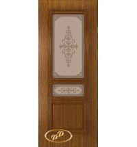 фото: Дверь Троя, шпон орех, пазы тон орех, стекло матовое бронза рис.Троя