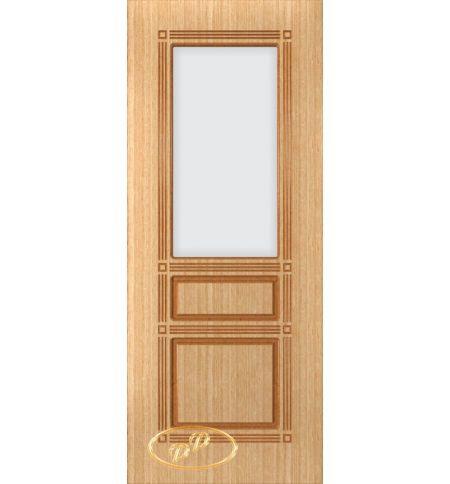 фото: Дверь Троя, шпон дуб, пазы корич., стекло матовое без рис.