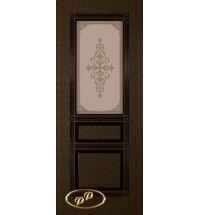 фото: Дверь Троя, шпон венге,пазы черные, стекло матовое бронза рис.Троя