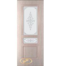 фото: Дверь Троя, шпон беленый дуб, пазы бежевые, стекло матовое рис.Троя