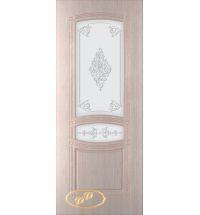 фото: Дверь Троя-1, шпон беленый дуб, пазы бежевые, стекло матовое рис.Троя-1
