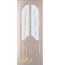фото: Дверь Спарта, шпон белёный дуб, пазы бежевые, стекло матовое рис.Спарта
