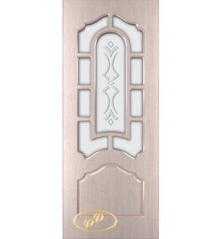фото: Дверь Соната, шпон беленый дуб, пазы бежевые, стекло матовое рис.Соната
