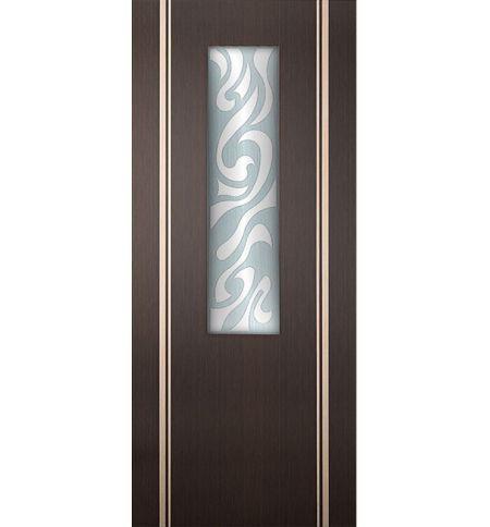 фото: Дверь Сафари, шпон венге/беленый дуб с инкрустацией, стекло матовое рис.Сафари