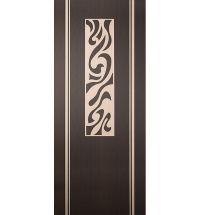 фото: Дверь Сафари, шпон венге/беленый дуб с инкрустацией