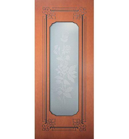 фото: Дверь Роза, шпон дуб тон британия, пазы черные, стекло матовое рис.Роза