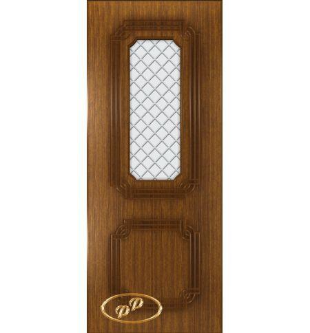 фото: Дверь Персия, шпон орех, пазы корич., стекло матовое рис.Решетка