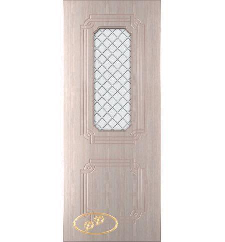 фото: Дверь Персия, шпон беленый дуб, пазы бежевые, стекло матовое рис.Решетка