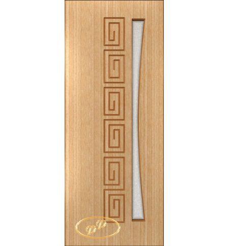 фото: Дверь Олимп, шпон дуб, пазы корич., стекло диамант