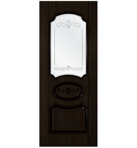 фото: Дверь Муза, шпон мореный дуб, пазы черные, стекло сатинат гравировка