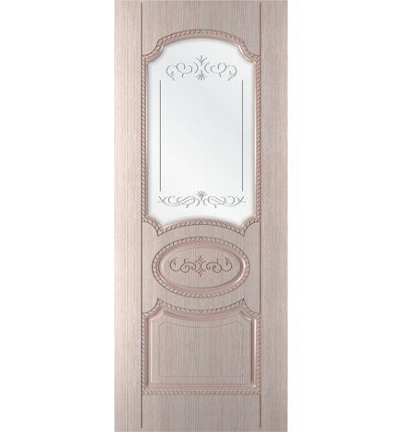 фото: Дверь Муза, шпон беленый дуб, пазы бежевые, стекло сатинат гравировка