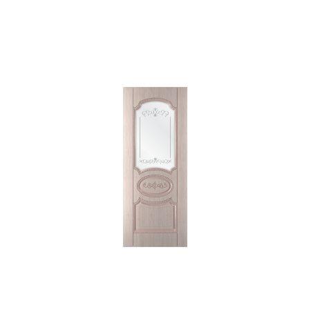 фото: Дверь Муза, шпон беленый дуб, пазы бежевые, сатинат гравировка