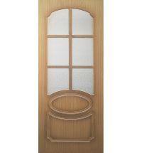фото: Дверь Милана, шпон дуб, пазы корич., стекло диамант