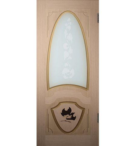 фото: Дверь Лувр, шпон беленый дуб, пазы золото, с инкрустацией, стекло матовое рис.Весна