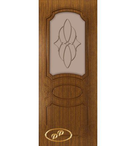 фото: Дверь Каролина, шпон орех, пазы корич., стекло матовое бронза рис.Паутинка