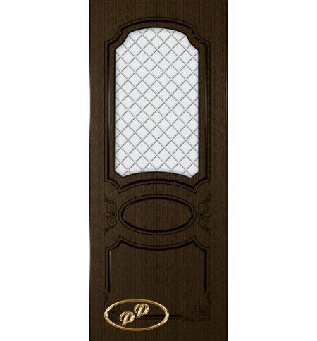фото: Дверь Каролина, шпон венге, пазы черные, стекло матовое рис.Решетка