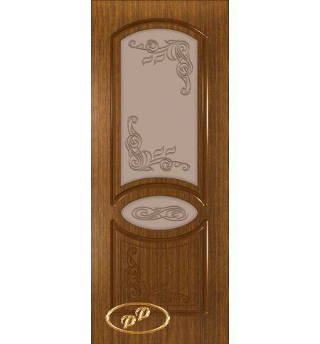 фото: Дверь Каролина-1, шпон орех, пазы тон орех, стекло матовое бронза рис.Каролина-1