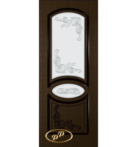 фото: Дверь Каролина-1, шпон венге, пазы черные, стекло матовое рис.Каролина-1