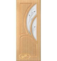 фото: Дверь Карелия-2, шпон дуб, пазы бесцвет.лак, стекло матовое рис.Карелия, фьюзинг