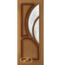 фото: Дверь Карелия-2, шпон дуб тон карелия, пазы тон карелия, стекло сатинат рис.1, гравировка