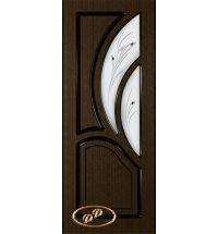 фото: Дверь Карелия-2, шпон венге, пазы черные, стекло матовое рис.Карелия, фьюзинг