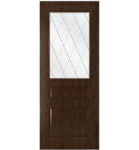 фото: Дверь Ника, шпон натуральный дуб тон каштан, стекло сатинат гравировка рис.Решетка