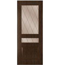 фото: Дверь Ника, шпон натуральный дуб тон каштан, стекло сатинат бронза гравировка рис.Решетка