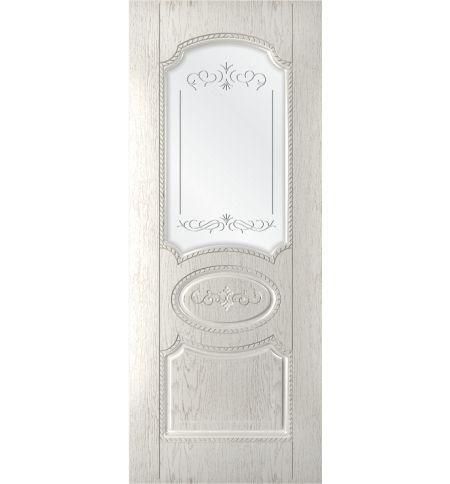 фото: Дверь Муза, шпон натур.дуб тон капучино, стекло сатинат гравировка рис.1