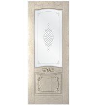 фото: Дверь Дубрава-1, шпон натуральный дуб тон латте, стекло сатинат мат.рис.1, гравировка