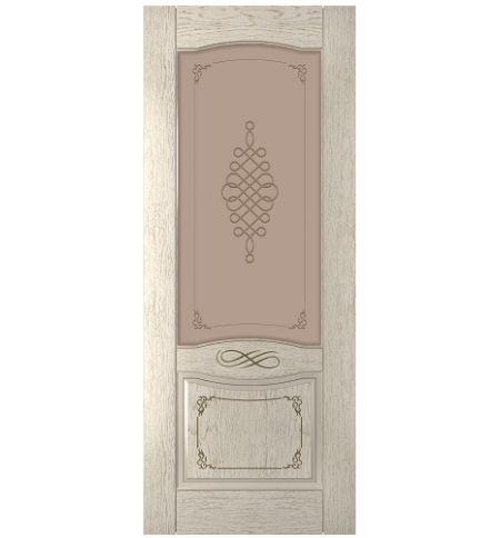 фото: Дверь Дубрава-1, шпон натуральный дуб тон латте, стекло сатинат бронза мат.рис.1, гравировка