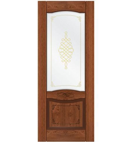 фото: Дверь Дубрава-1, шпон натуральный дуб тон коньяк, стекло сатинат наплыв золотой рис.