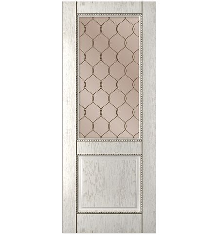 фото: Дверь Гранд-1, шпон натуральный дуб тон капучино, стекло сатинат бронза рис.1, гравировка