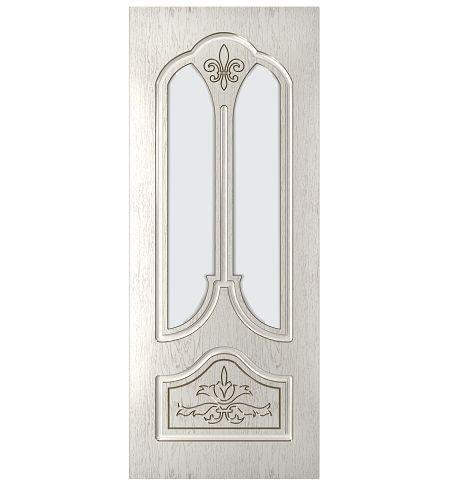 фото: Дверь Афина, шпон натуральный дуб тон капучино, стекло матовое без рис.