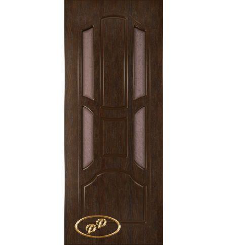 фото: Дверь Ампир-1, шпон натуральный дуб тон каштан, стекло дельта бронза