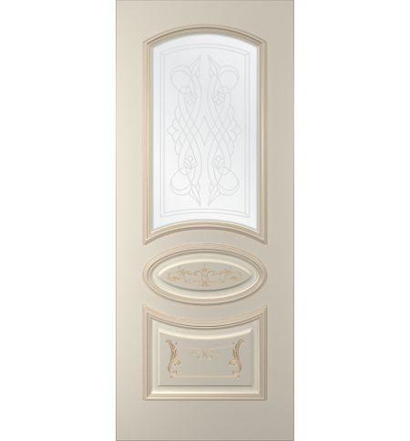 фото: Дверь Ривьера, тон Авангард, патина золото-R17 (акрил), стекло сатинат наплыв прозрачный рис. 1