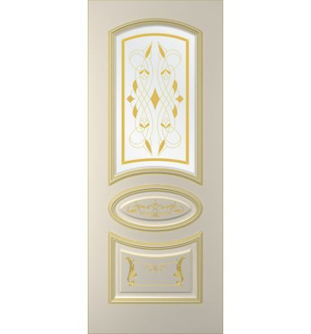 фото: Дверь Ривьера, тон Авангард, патина золото-I (акрил), стекло сатинат наплыв золотой фотопечать рис. 1