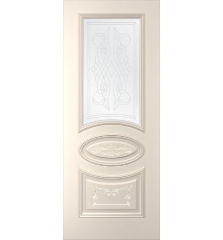 фото: Дверь Ривьера-1, тон Персиковый, стекло сатинат наплыв прозрачный рис. 1