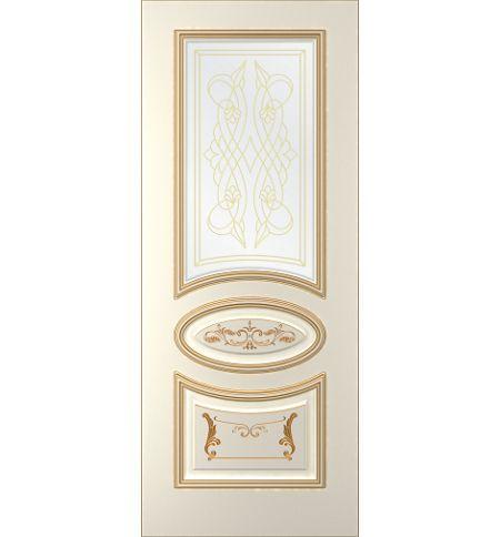 фото: Дверь Ривьера-1, тон Ваниль, патина золото-R (акрил),стекло сатинат наплыв золотой рис. 1
