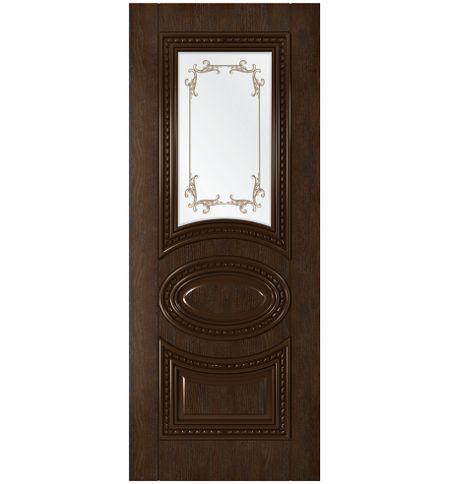 фото: Дверь Лацио, шпон натуральный дуб тон каштан стекло сатинат фотопечать рис.1