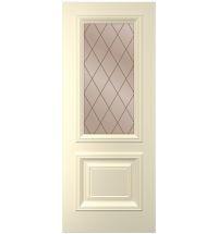 фото: Дверь Дебют, тон Крем, стекло сатинат бронза гравировка рис. Решетка