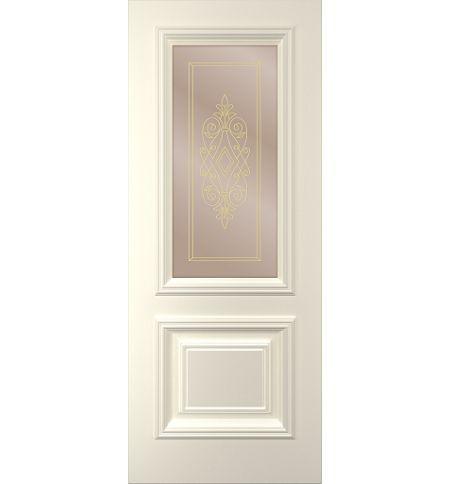 фото: Дверь Дебют, тон Ваниль, стекло сатинат бронза наплыв золотой рис. 1