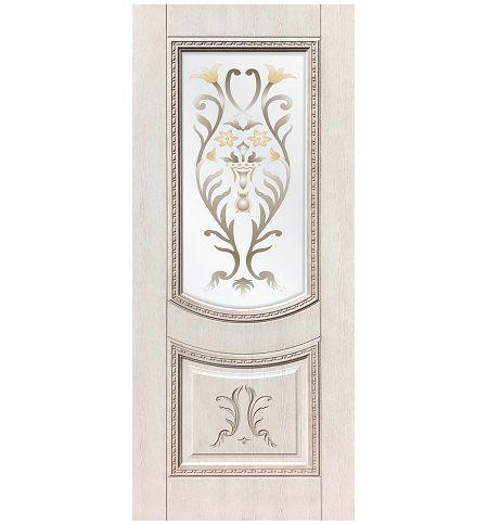 фото: Дверь ДП Сицилия, ПВХ № 4, патина капучино, стекло сатинат фотопечать рис. 1