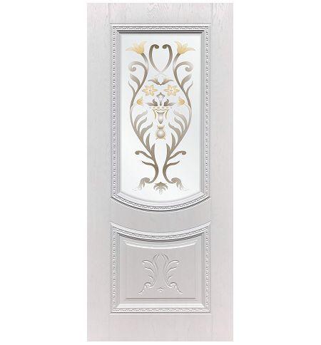 фото: Дверь ДП Сицилия, ПВХ № 21, патина серебро, стекло сатинат фотопечать рис. 1