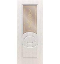 фото: Дверь ДП Престиж-1, ПВХ № 4, стекло сатинат бронза наплыв золотой рис. Бутон