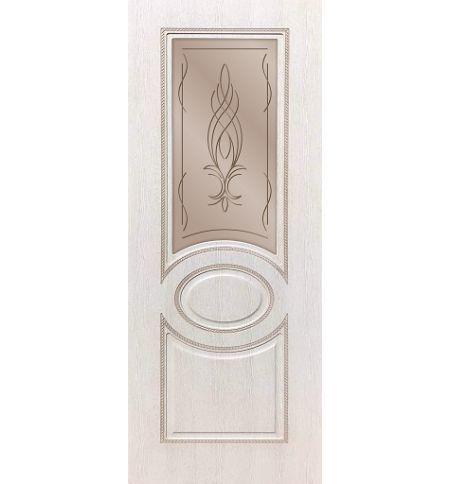 фото: Дверь ДП Престиж-1, ПВХ № 4, патина капучино, стекло сатинат бронза гравировка рис. Бутон