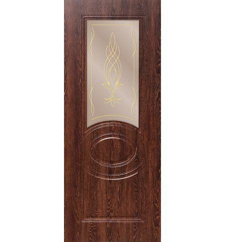 фото: Дверь ДП Престиж-1, ПВХ № 2, стекло сатинат бронза наплыв золотой рис. Бутон